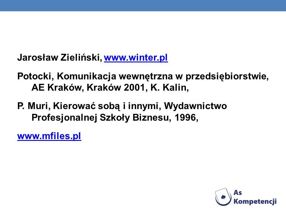 Jarosław Zieliński, www.winter.plwww.winter.pl Potocki, Komunikacja wewnętrzna w przedsiębiorstwie, AE Kraków, Kraków 2001, K.
