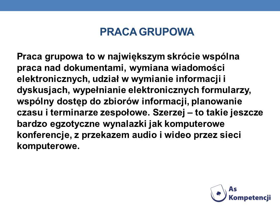 PRACA GRUPOWA Praca grupowa to w największym skrócie wspólna praca nad dokumentami, wymiana wiadomości elektronicznych, udział w wymianie informacji i dyskusjach, wypełnianie elektronicznych formularzy, wspólny dostęp do zbiorów informacji, planowanie czasu i terminarze zespołowe.