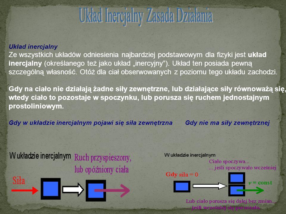 Układ inercjalny Ze wszystkich układów odniesienia najbardziej podstawowym dla fizyki jest układ inercjalny (określanego też jako układ inercyjny). Uk