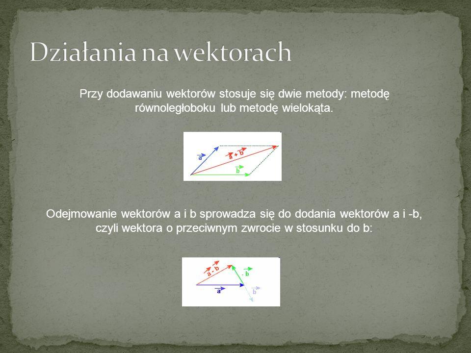 Przy dodawaniu wektorów stosuje się dwie metody: metodę równoległoboku lub metodę wielokąta. Odejmowanie wektorów a i b sprowadza się do dodania wekto