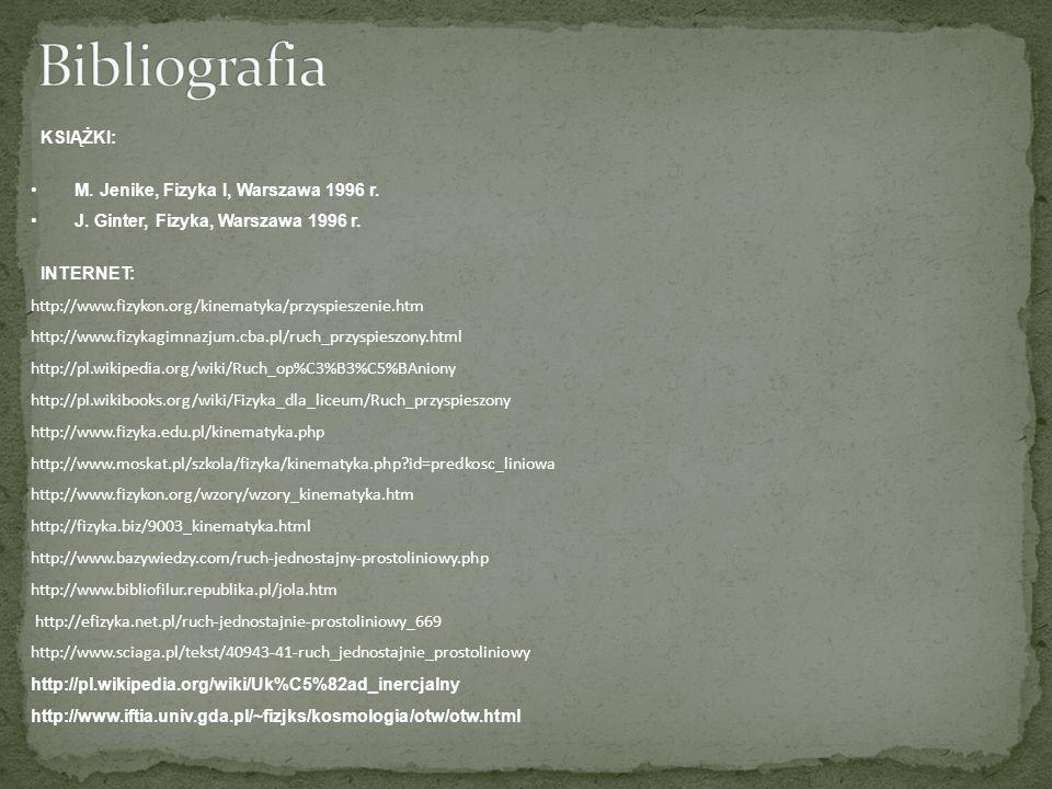 KSIĄŻKI: M. Jenike, Fizyka I, Warszawa 1996 r. J. Ginter, Fizyka, Warszawa 1996 r. INTERNET: http://www.fizykon.org/kinematyka/przyspieszenie.htm http