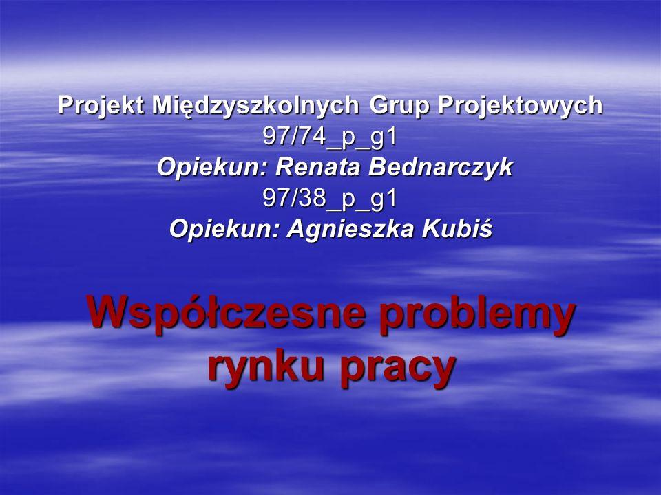 Projekt Międzyszkolnych Grup Projektowych 97/74_p_g1 Opiekun: Renata Bednarczyk 97/38_p_g1 Opiekun: Agnieszka Kubiś Współczesne problemy rynku pracy