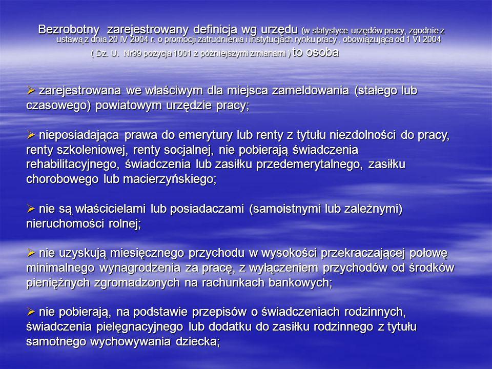 Bezrobotny zarejestrowany definicja wg urzędu (w statystyce urzędów pracy, zgodnie z ustawą z dnia 20 IV 2004 r. o promocji zatrudnienia i instytucjac
