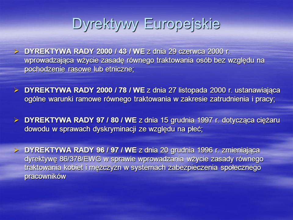 Dyrektywy Europejskie DYREKTYWA RADY 2000 / 43 / WE z dnia 29 czerwca 2000 r. wprowadzająca wżycie zasadę równego traktowania osób bez względu na poch