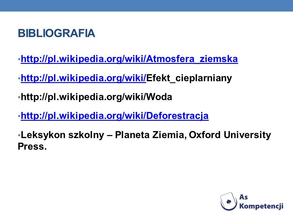 BIBLIOGRAFIA http://pl.wikipedia.org/wiki/Atmosfera_ziemska http://pl.wikipedia.org/wiki/Efekt_cieplarniany http://pl.wikipedia.org/wiki/ http://pl.wi