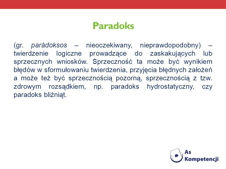 Paradoks (gr. parádoksos – nieoczekiwany, nieprawdopodobny) – twierdzenie logiczne prowadzące do zaskakujących lub sprzecznych wniosków. Sprzeczność t