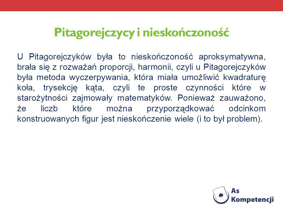 Pitagorejczycy i nieskończoność U Pitagorejczyków była to nieskończoność aproksymatywna, brała się z rozważań proporcji, harmonii, czyli u Pitagorejcz