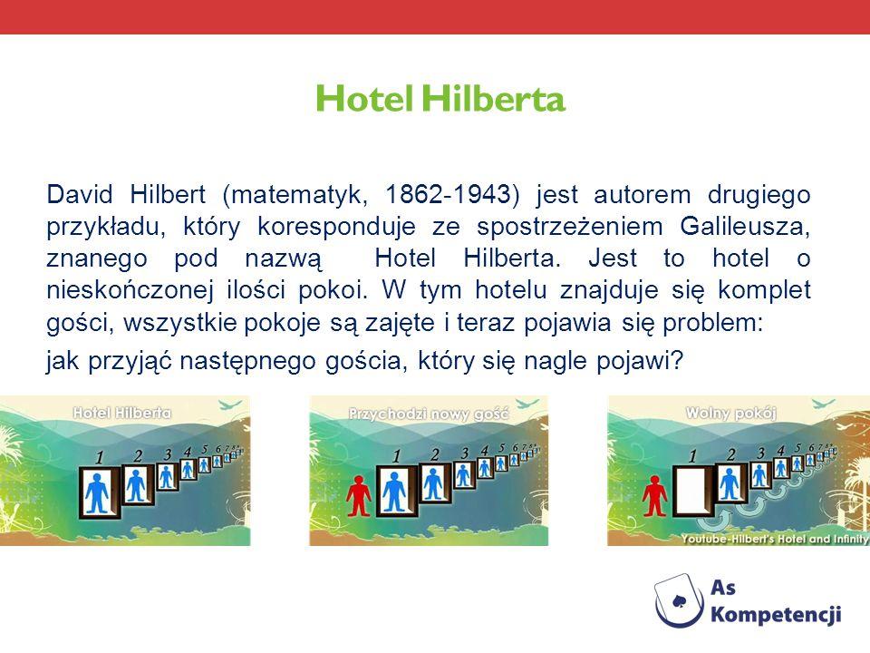 Hotel Hilberta David Hilbert (matematyk, 1862-1943) jest autorem drugiego przykładu, który koresponduje ze spostrzeżeniem Galileusza, znanego pod nazw
