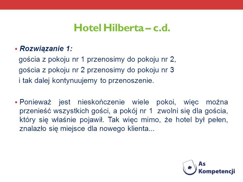 Hotel Hilberta – c.d. Rozwiązanie 1: gościa z pokoju nr 1 przenosimy do pokoju nr 2, gościa z pokoju nr 2 przenosimy do pokoju nr 3 i tak dalej kontyn