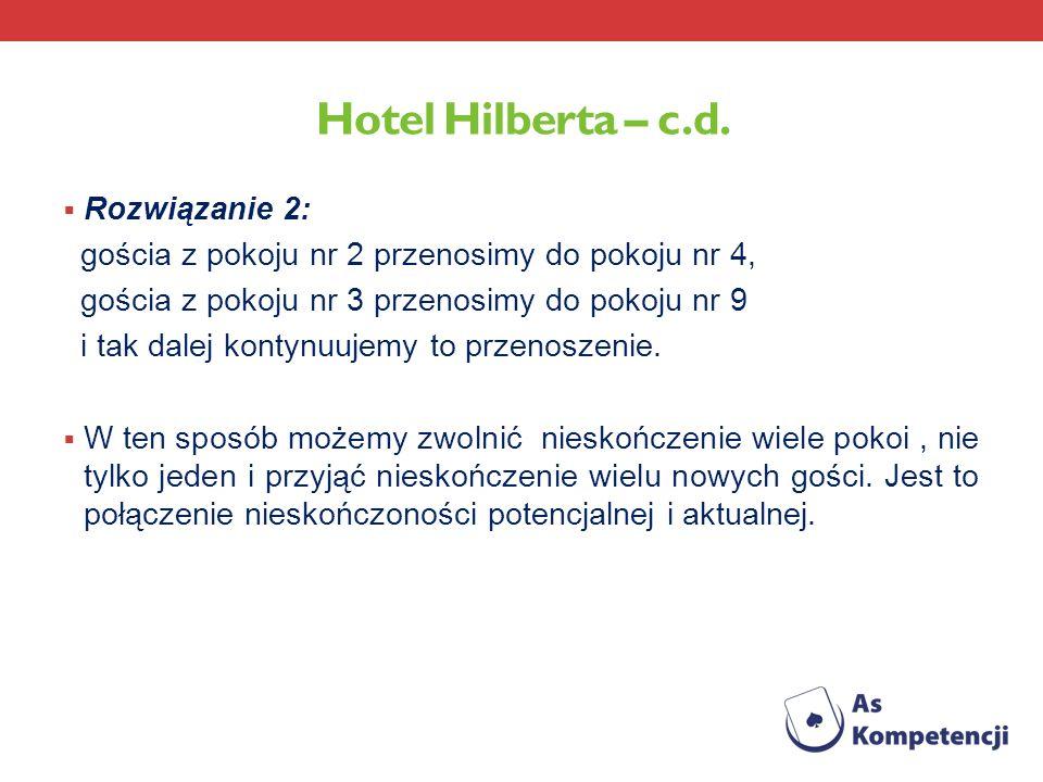 Hotel Hilberta – c.d. Rozwiązanie 2: gościa z pokoju nr 2 przenosimy do pokoju nr 4, gościa z pokoju nr 3 przenosimy do pokoju nr 9 i tak dalej kontyn