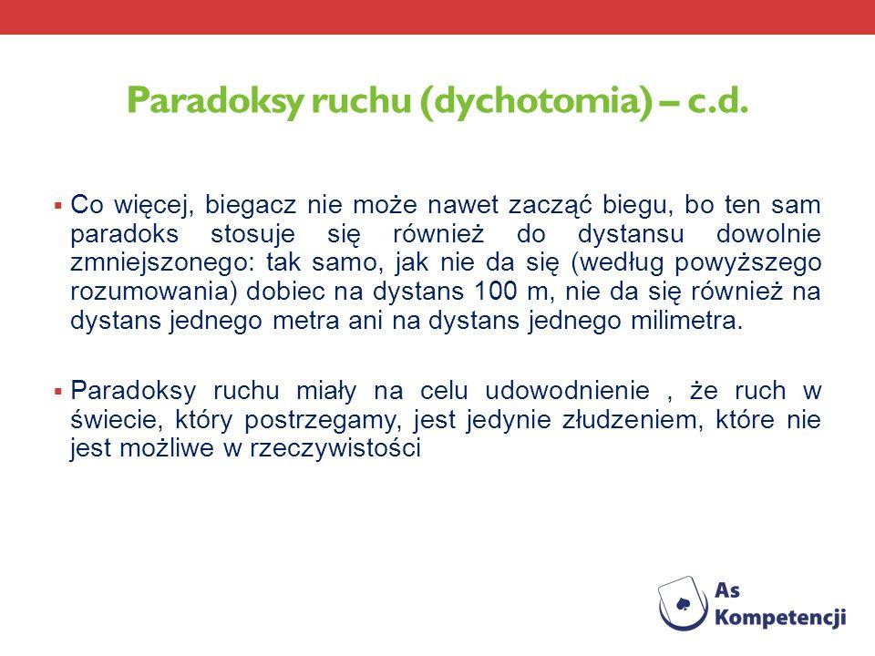Paradoksy ruchu (dychotomia) – c.d. Co więcej, biegacz nie może nawet zacząć biegu, bo ten sam paradoks stosuje się również do dystansu dowolnie zmnie