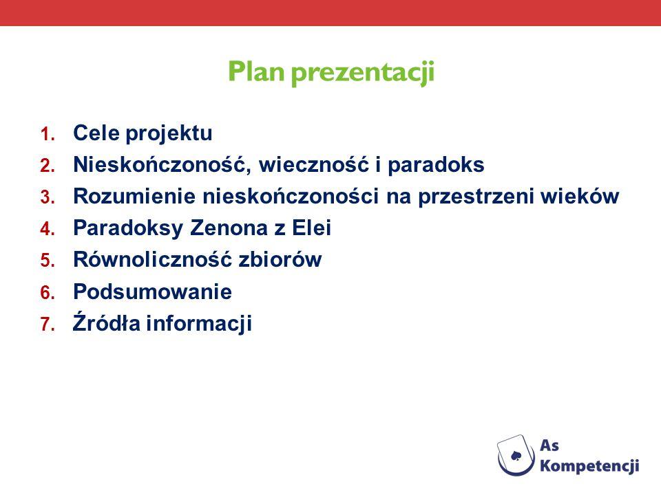 Plan prezentacji 1. Cele projektu 2. Nieskończoność, wieczność i paradoks 3. Rozumienie nieskończoności na przestrzeni wieków 4. Paradoksy Zenona z El