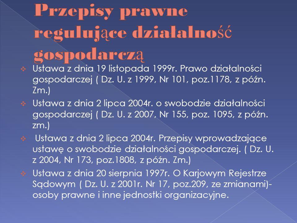 Ustawa z dnia 19 listopada 1999r. Prawo działalności gospodarczej ( Dz. U. z 1999, Nr 101, poz.1178, z późn. Zm.) Ustawa z dnia 2 lipca 2004r. o swobo
