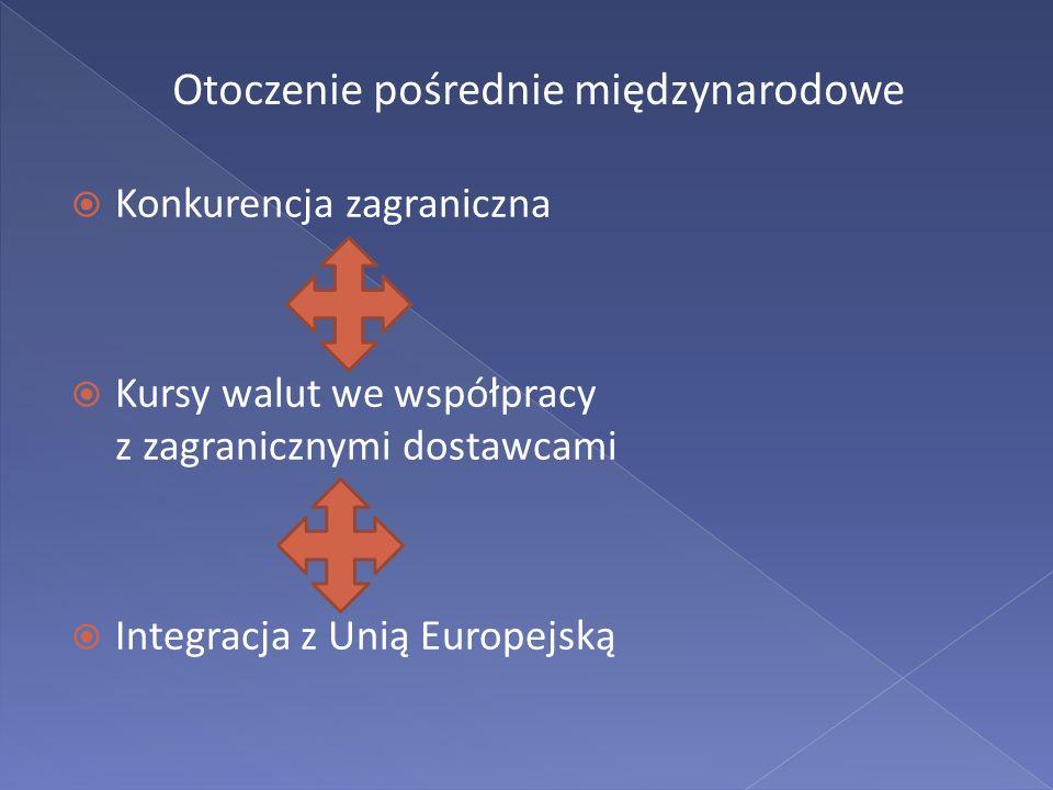 Otoczenie pośrednie międzynarodowe Konkurencja zagraniczna Kursy walut we współpracy z zagranicznymi dostawcami Integracja z Unią Europejską