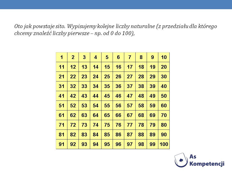 Zadanie polega na tym, iż stajemy na 2 (omijamy 1, która nie jest ani pierwsza ani złożona) i od 2 (którą zaznaczamy w kółeczko) skreślamy co drugą liczbę.
