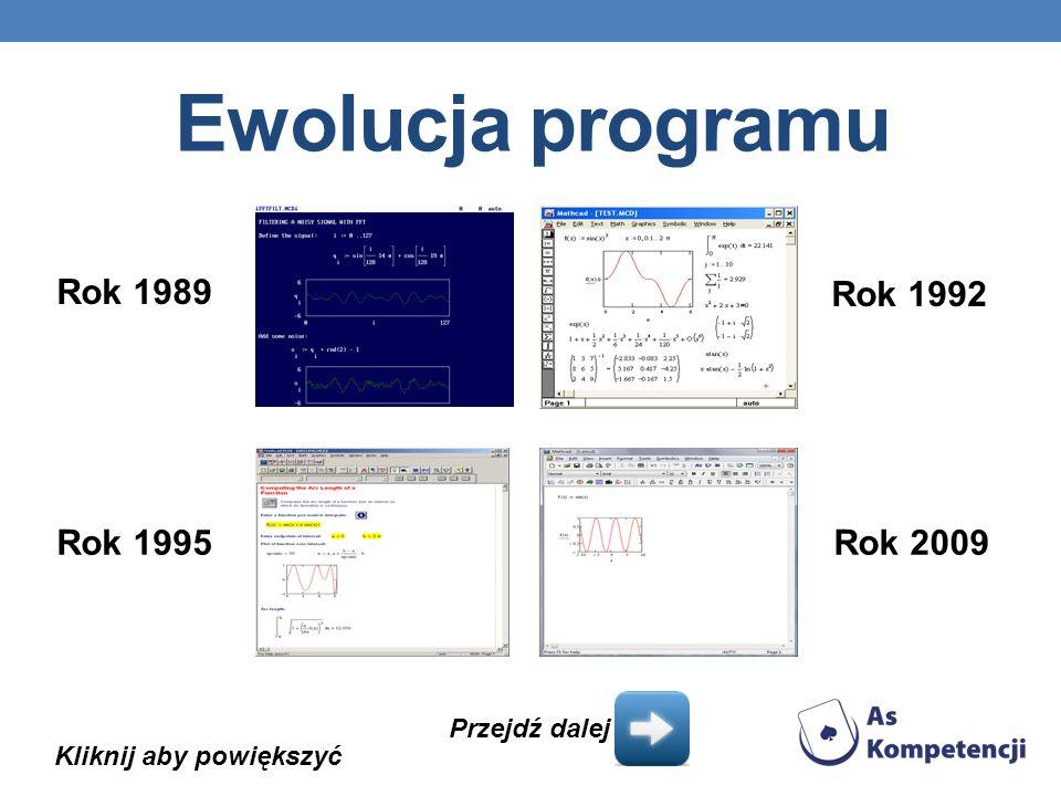 Ewolucja programu Kliknij aby powiększyć Rok 1989 Rok 1992 Rok 1995Rok 2009 Przejdź dalej