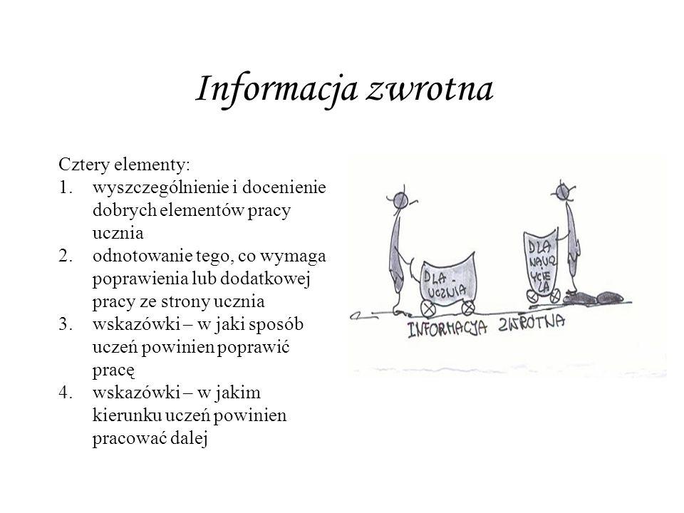 Informacja zwrotna Cztery elementy: 1.wyszczególnienie i docenienie dobrych elementów pracy ucznia 2.odnotowanie tego, co wymaga poprawienia lub dodat