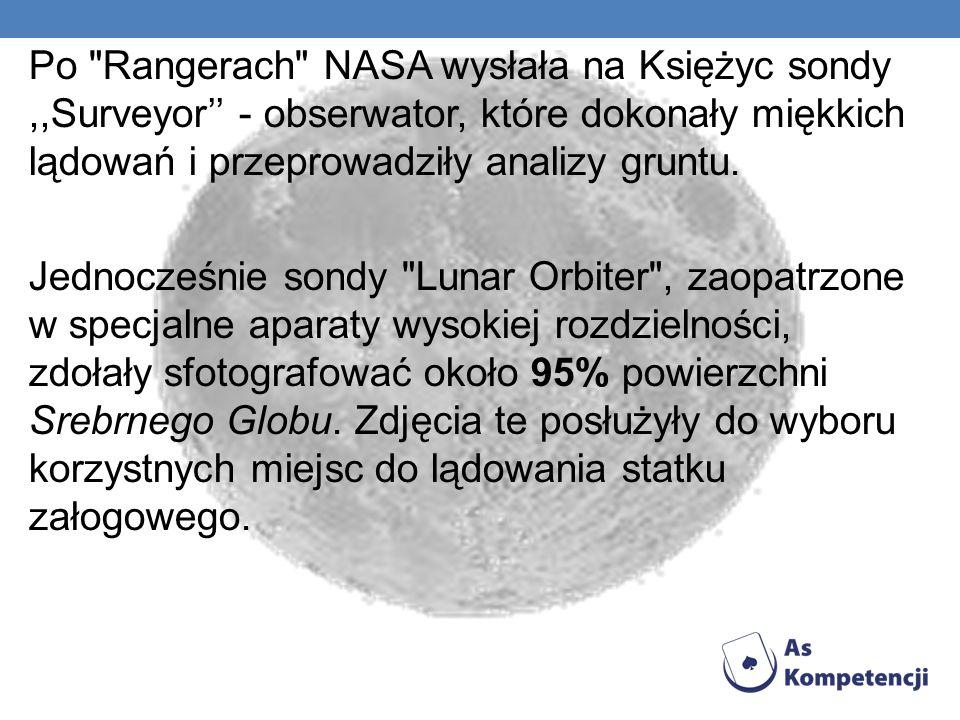 Po Rangerach NASA wysłała na Księżyc sondy,,Surveyor - obserwator, które dokonały miękkich lądowań i przeprowadziły analizy gruntu.