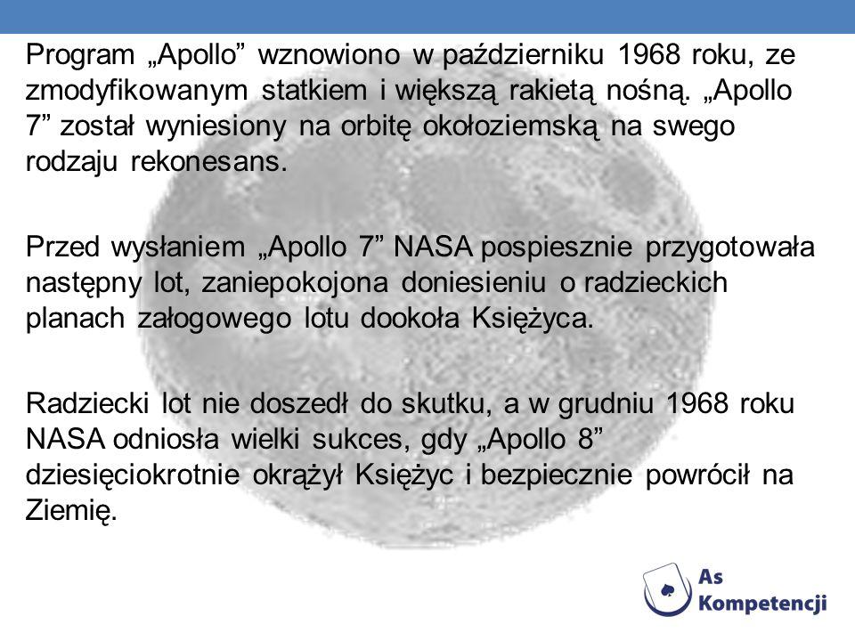 Program Apollo wznowiono w październiku 1968 roku, ze zmodyfikowanym statkiem i większą rakietą nośną.