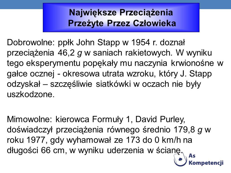 Dobrowolne: ppłk John Stapp w 1954 r.doznał przeciążenia 46,2 g w saniach rakietowych.