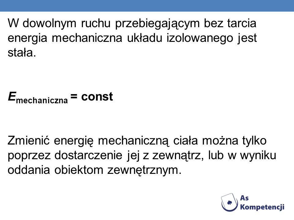 W dowolnym ruchu przebiegającym bez tarcia energia mechaniczna układu izolowanego jest stała.