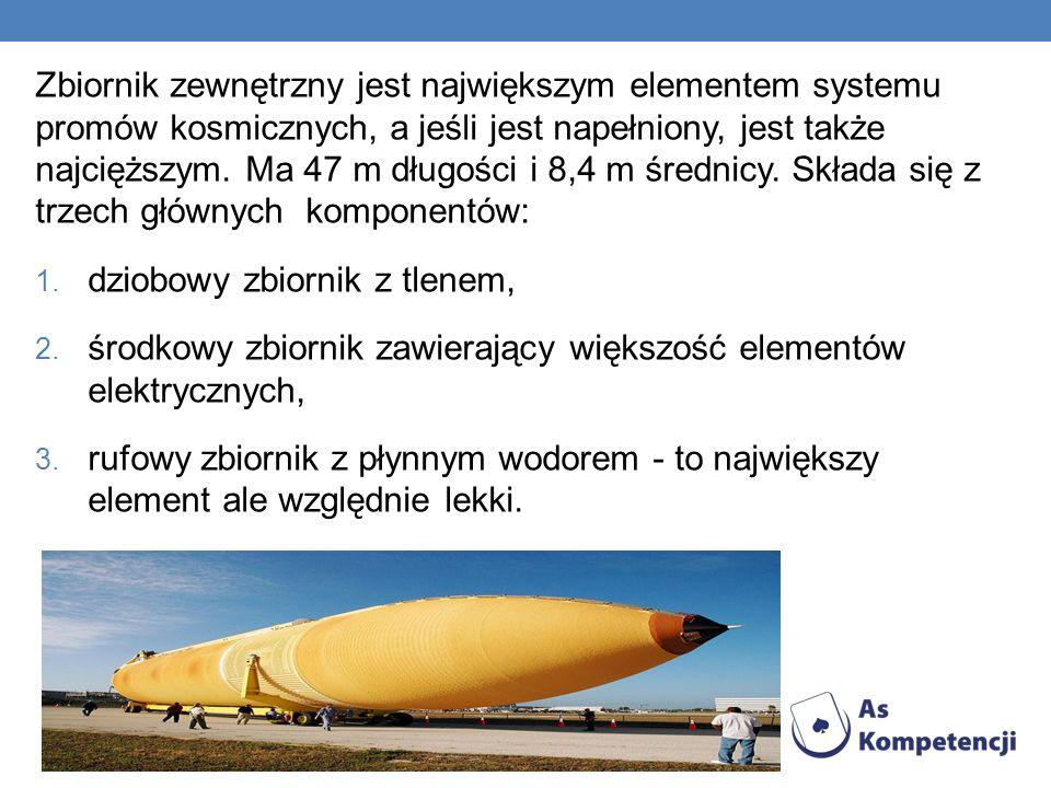 Zbiornik zewnętrzny jest największym elementem systemu promów kosmicznych, a jeśli jest napełniony, jest także najcięższym.