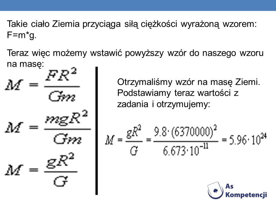 Takie ciało Ziemia przyciąga siłą ciężkości wyrażoną wzorem: F=m*g.