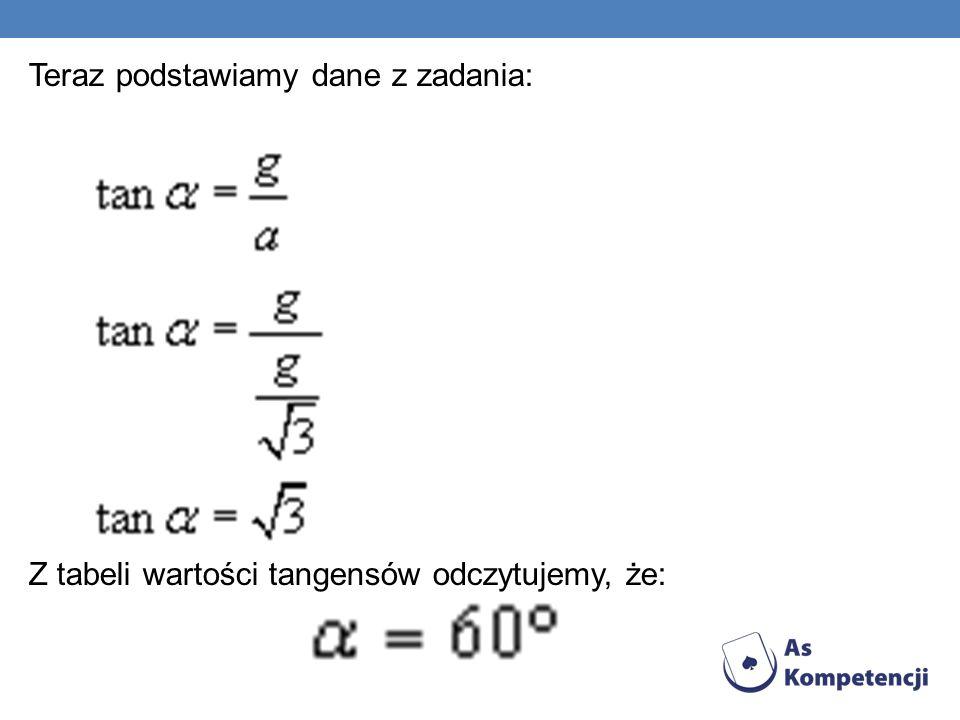 Teraz podstawiamy dane z zadania: Z tabeli wartości tangensów odczytujemy, że: