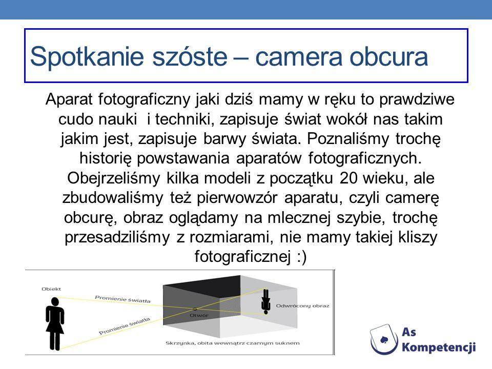 Spotkanie szóste – camera obcura Aparat fotograficzny jaki dziś mamy w ręku to prawdziwe cudo nauki i techniki, zapisuje świat wokół nas takim jakim j
