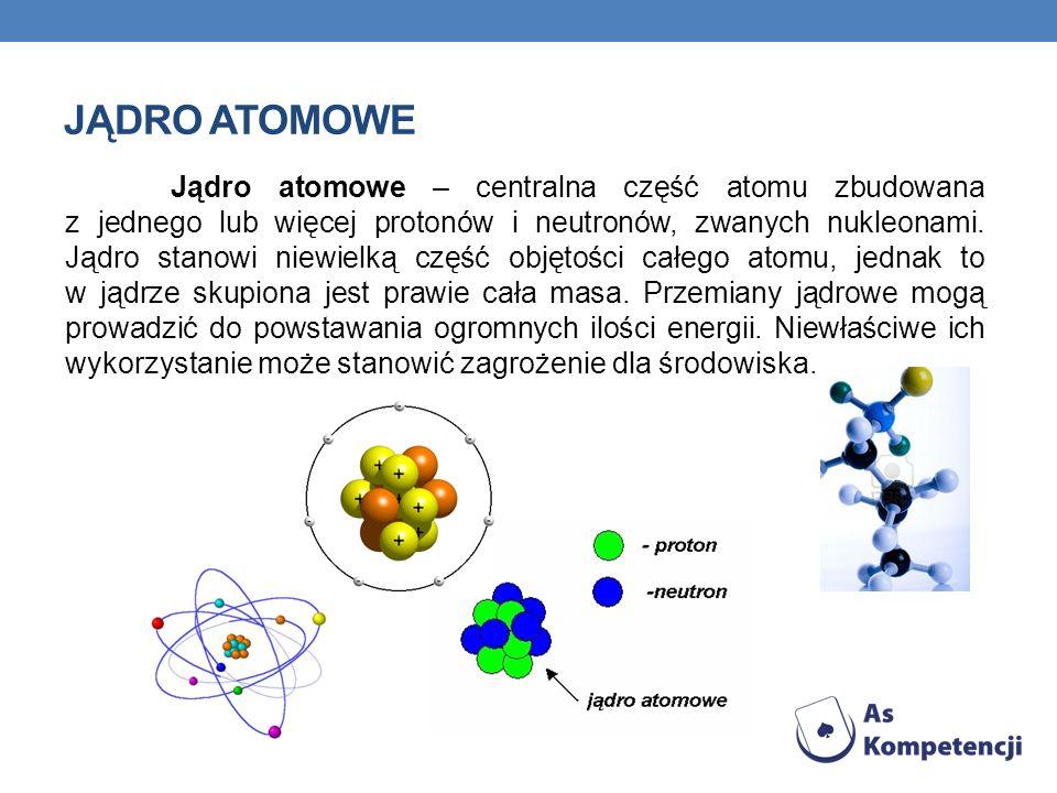 JĄDRO ATOMOWE Jądro atomowe – centralna część atomu zbudowana z jednego lub więcej protonów i neutronów, zwanych nukleonami. Jądro stanowi niewielką c