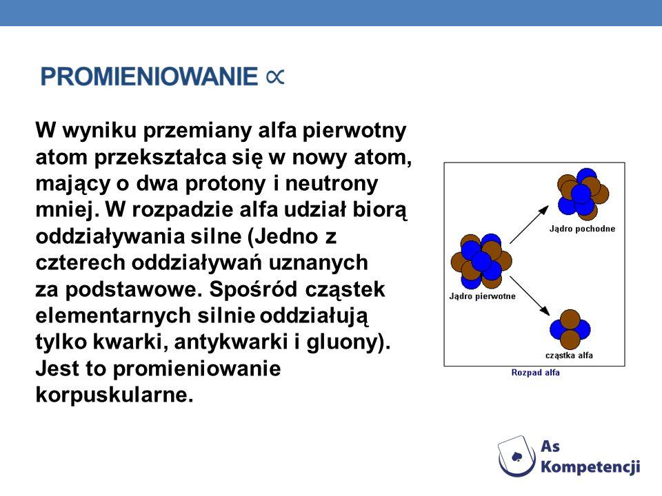 W wyniku przemiany alfa pierwotny atom przekształca się w nowy atom, mający o dwa protony i neutrony mniej. W rozpadzie alfa udział biorą oddziaływani