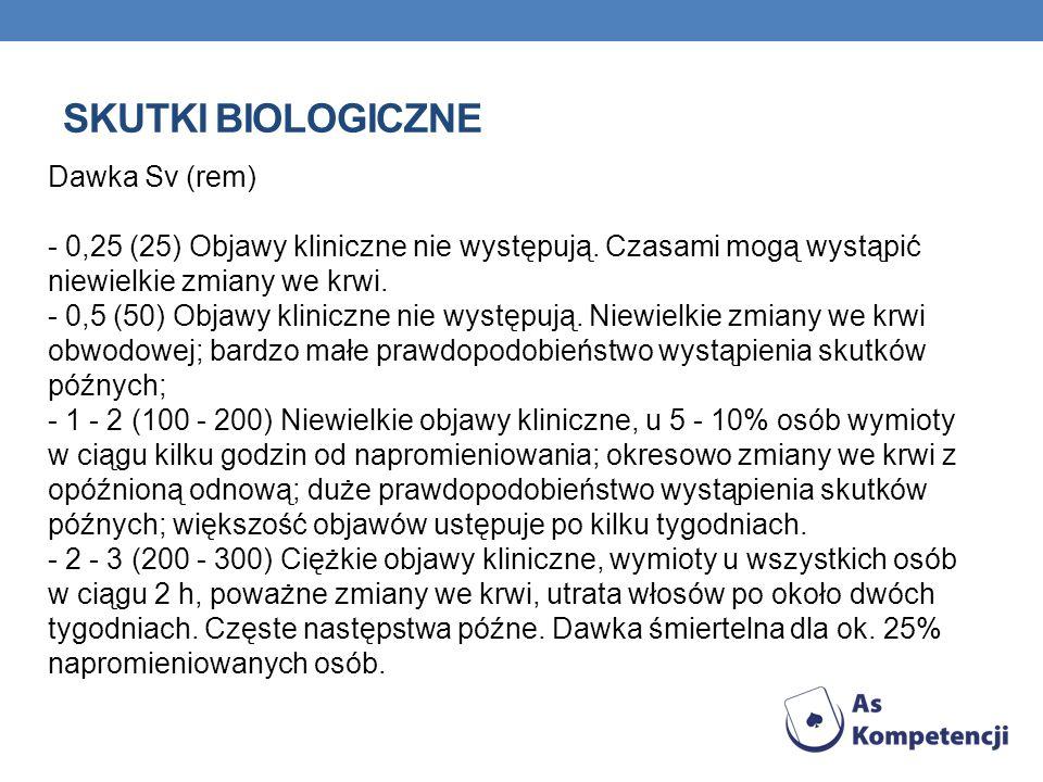 SKUTKI BIOLOGICZNE Dawka Sv (rem) - 0,25 (25) Objawy kliniczne nie występują. Czasami mogą wystąpić niewielkie zmiany we krwi. - 0,5 (50) Objawy klini