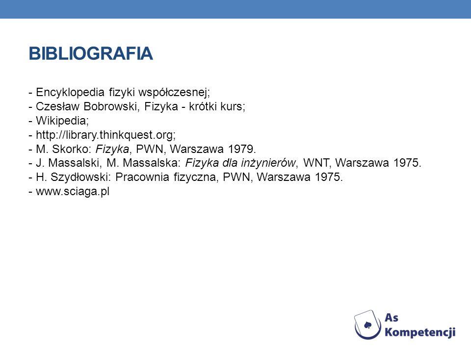 BIBLIOGRAFIA - Encyklopedia fizyki współczesnej; - Czesław Bobrowski, Fizyka - krótki kurs; - Wikipedia; - http://library.thinkquest.org; - M. Skorko: