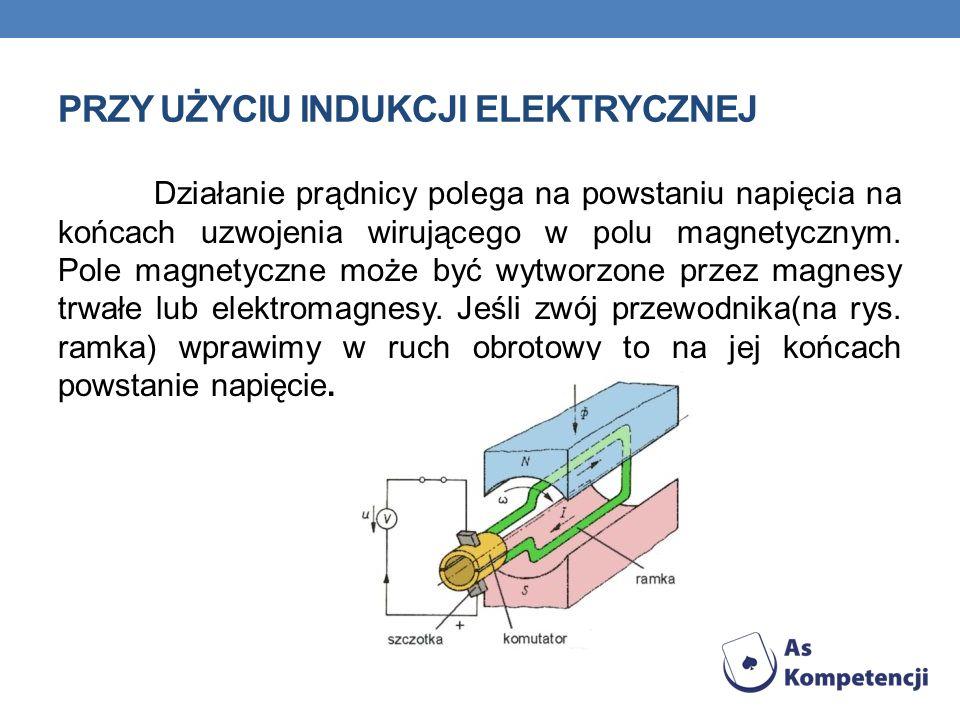 PRZY UŻYCIU INDUKCJI ELEKTRYCZNEJ Działanie prądnicy polega na powstaniu napięcia na końcach uzwojenia wirującego w polu magnetycznym. Pole magnetyczn