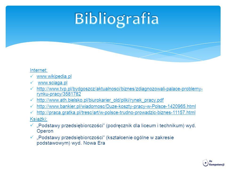 Internet: www.wikipedia.pl www.sciaga.pl http://www.tvp.pl/bydgoszcz/aktualnosci/biznes/zdiagnozowali-palace-problemy- rynku-pracy/3581782 http://www.tvp.pl/bydgoszcz/aktualnosci/biznes/zdiagnozowali-palace-problemy- rynku-pracy/3581782 http://www.ath.bielsko.pl/biurokarier_old/pliki/rynek_pracy.pdf http://www.bankier.pl/wiadomosc/Duze-koszty-pracy-w-Polsce-1420965.html http://praca.gratka.pl/tresc/art/w-polsce-trudno-prowadzic-biznes-11157.html Książki: Podstawy przedsiębiorczości (podręcznik dla liceum i technikum) wyd.