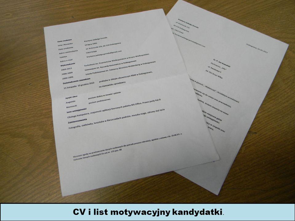 CV i list motywacyjny kandydatki.