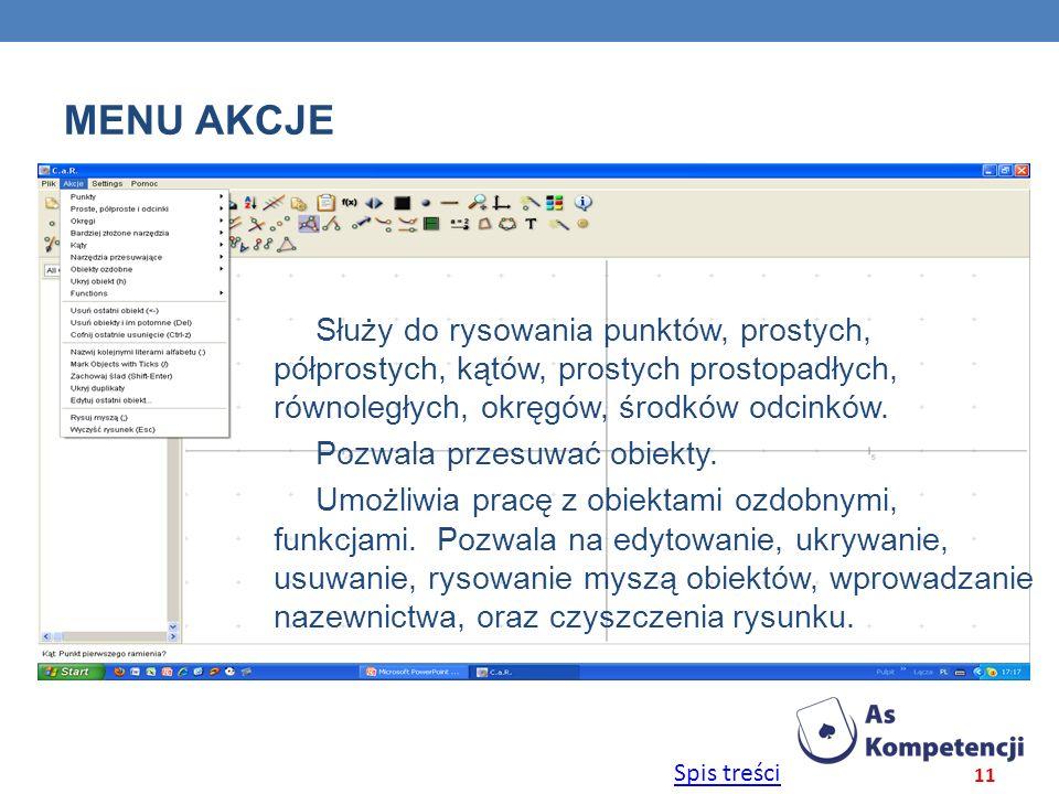 Spis treści MENU AKCJE 11 Służy do rysowania punktów, prostych, półprostych, kątów, prostych prostopadłych, równoległych, okręgów, środków odcinków. P