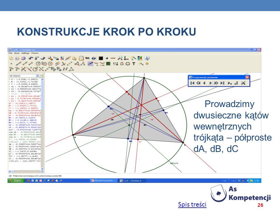 Spis treści KONSTRUKCJE KROK PO KROKU 26 Prowadzimy dwusieczne kątów wewnętrznych trójkąta – półproste dA, dB, dC