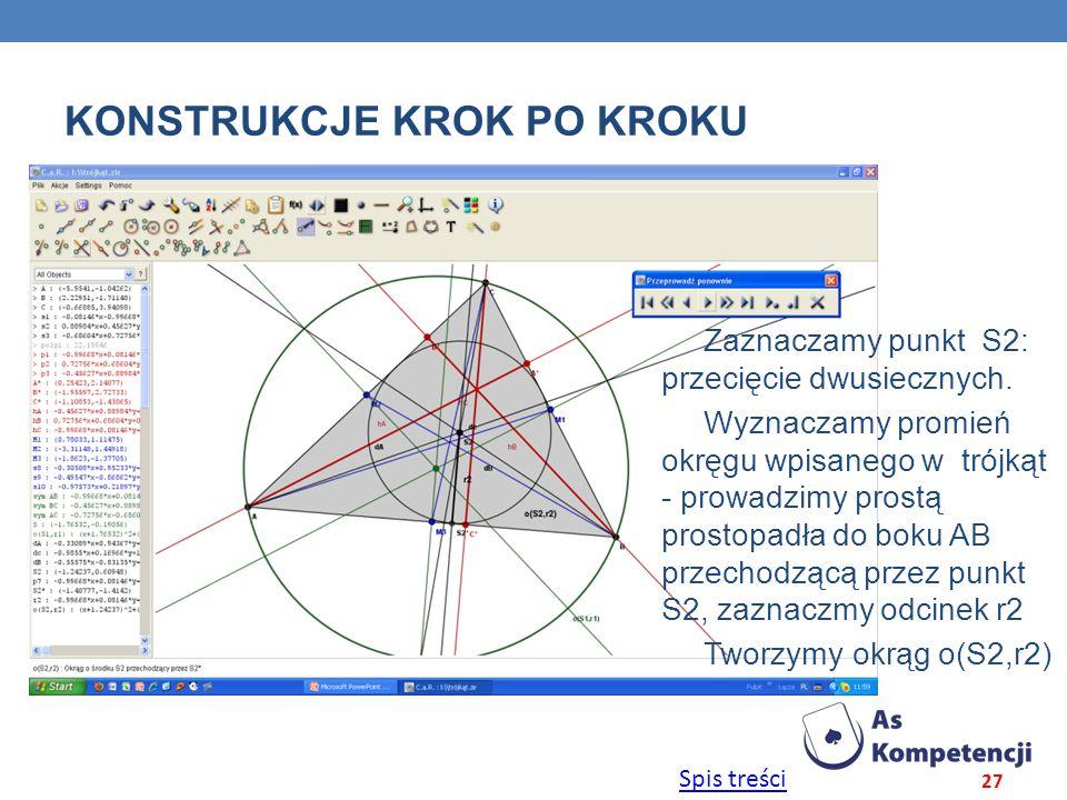 Spis treści KONSTRUKCJE KROK PO KROKU 27 Zaznaczamy punkt S2: przecięcie dwusiecznych. Wyznaczamy promień okręgu wpisanego w trójkąt - prowadzimy pros
