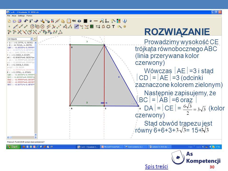 Spis treści 30 ROZWIĄZANIE Prowadzimy wysokość CE trójkąta równobocznego ABC (linia przerywana kolor czerwony) Wówczas AE =3 i stąd CD = AE =3 (odcink