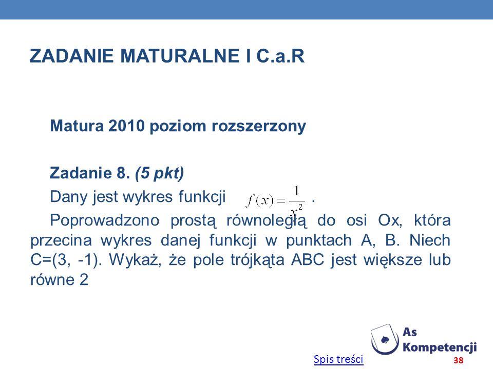 Spis treści ZADANIE MATURALNE I C.a.R Matura 2010 poziom rozszerzony Zadanie 8. (5 pkt) Dany jest wykres funkcji. Poprowadzono prostą równoległą do os