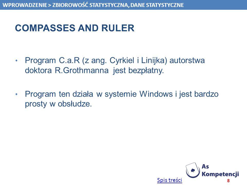 Spis treści COMPASSES AND RULER Program C.a.R (z ang. Cyrkiel i Linijka) autorstwa doktora R.Grothmanna jest bezpłatny. Program ten działa w systemie