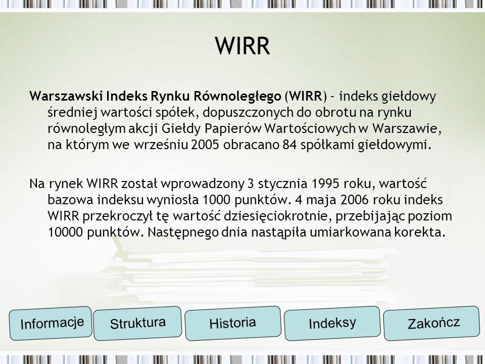 WIRR Warszawski Indeks Rynku Równoległego (WIRR) - indeks giełdowy średniej wartości spółek, dopuszczonych do obrotu na rynku równoległym akcji Giełdy