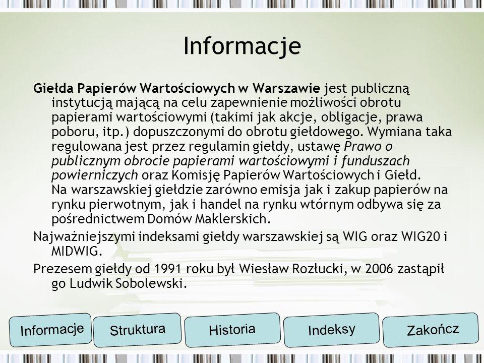 Informacje Giełda Papierów Wartościowych w Warszawie jest publiczną instytucją mającą na celu zapewnienie możliwości obrotu papierami wartościowymi (t
