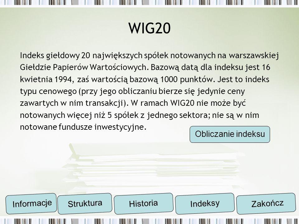 WIG20 Indeks giełdowy 20 największych spółek notowanych na warszawskiej Giełdzie Papierów Wartościowych. Bazową datą dla indeksu jest 16 kwietnia 1994