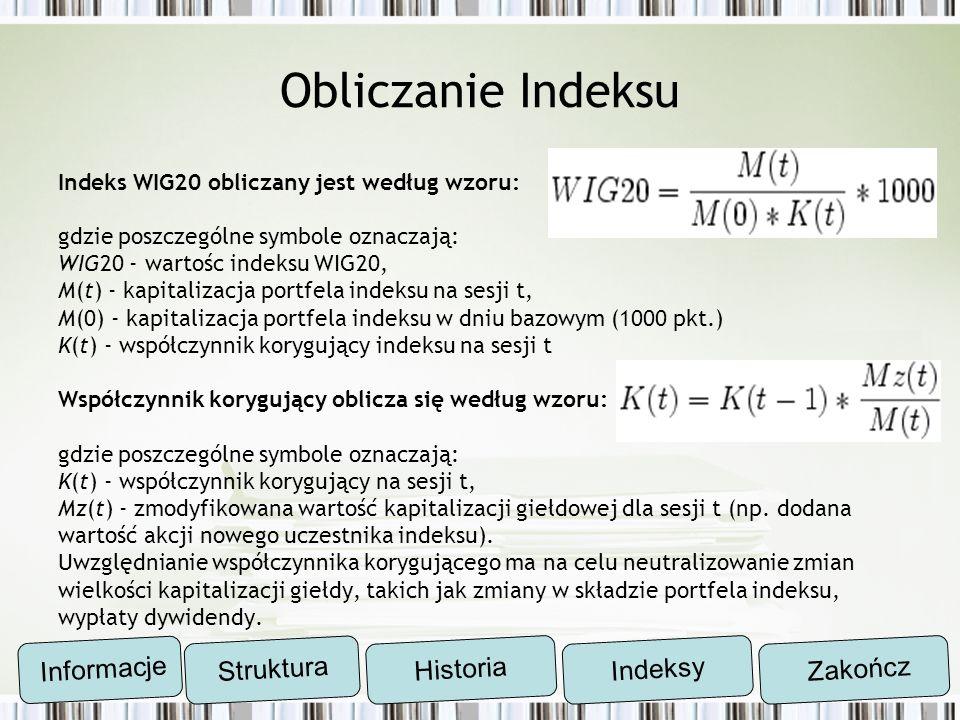Obliczanie Indeksu Indeks WIG20 obliczany jest według wzoru: gdzie poszczególne symbole oznaczają: WIG20 - wartośc indeksu WIG20, M(t) - kapitalizacja