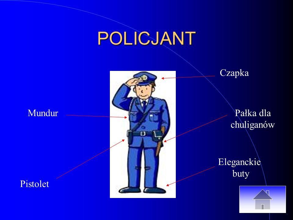 POLICJANT Czapka Pałka dla chuliganów Eleganckie buty Pistolet Mundur
