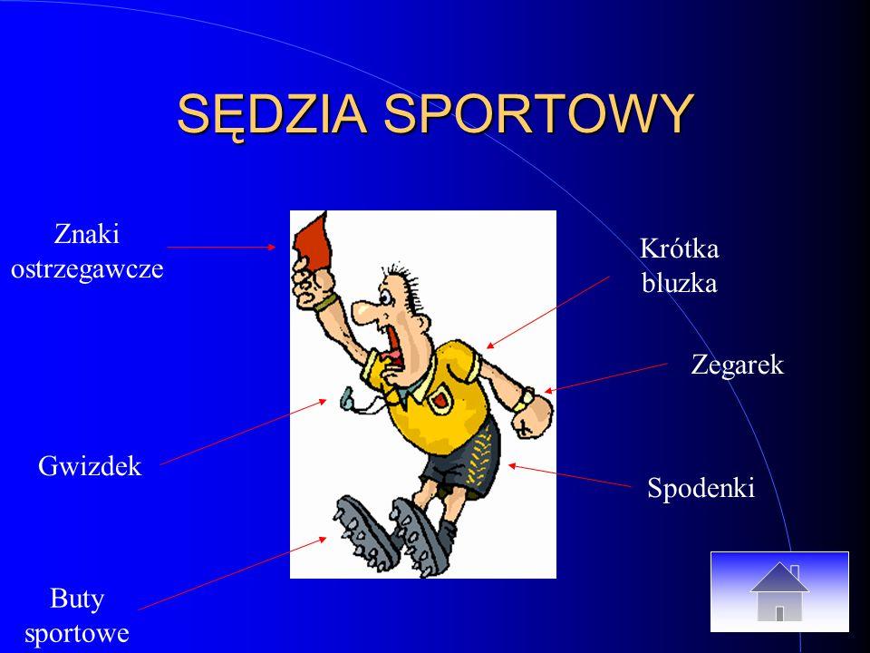 SĘDZIA SPORTOWY Buty sportowe Gwizdek Znaki ostrzegawcze Spodenki Zegarek Krótka bluzka