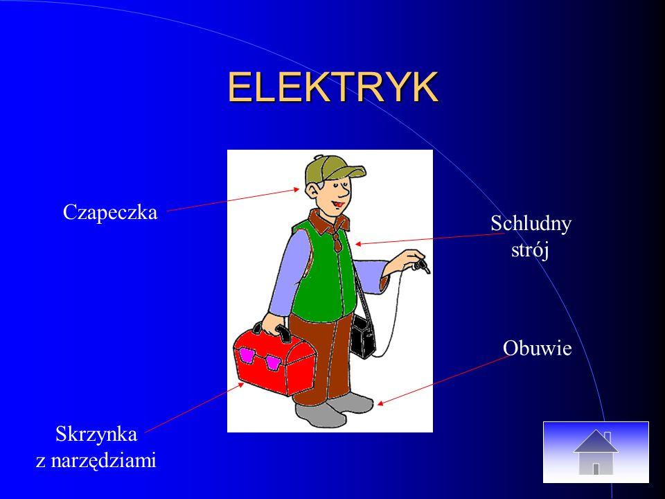 ELEKTRYK Skrzynka z narzędziami Czapeczka Obuwie Schludny strój