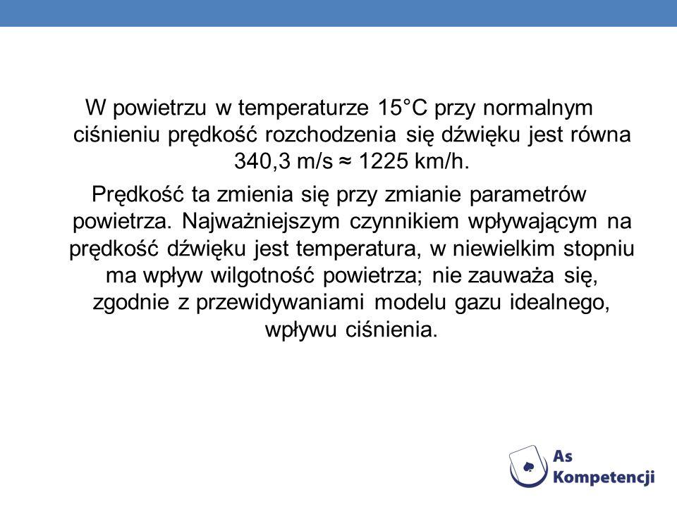 W powietrzu w temperaturze 15°C przy normalnym ciśnieniu prędkość rozchodzenia się dźwięku jest równa 340,3 m/s 1225 km/h. Prędkość ta zmienia się prz
